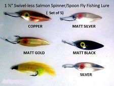 "1 ½"" Swivel-less Salmon Spinner/Spoon Fly Fishing Lures  (Pack of 5)"