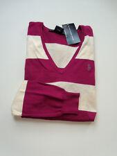 NWT Womens Ralph Lauren Polo Pima Cotton V Neck Sweater NEW Jumper M Medium Pink