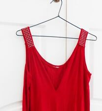 Red sleeveless long ladies top stud straps Size M Medium 12 - 14 cami style