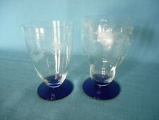 2 ETCHED CLEAR GLASS TUMBLERS w/ COBALT BLUE FOOTED BASES