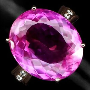 Topaz Pink Oval 34.80 ct. 925 Sterling Silver Rose Gold Ring Size 7 Gift Jewelry