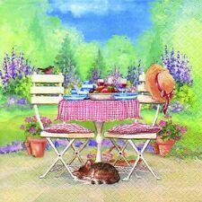 20 Servietten, Mittagessen auf dem Gartentisch, romantische Landhaus Szene 33x33
