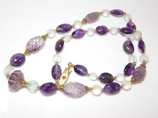 """Vintage Carved Amethyst Purple Frosted Quartz Bead Gold 20"""" Necklace 1b 57"""
