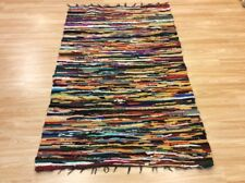 Multi Coloured Handwoven Rag Rug Funky Recycled Mix Textures 110x180cm 50% OFF