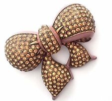 Joan Rivers Mauve Enamel Pave Crystal Bow Brooch Pin Copper Tone Finish RARE