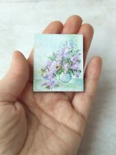 "OOAK. Miniature oil painting on canvas, lilacs, a tiny picture of 1.57 ""x1.97"""