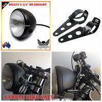 "Black billet motorcycle 6 3/4"" headlight Harley chopper cafe bobber + bracke H4"