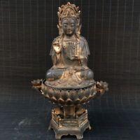 """10"""" China old Antique bronze gilt handmade Yellow Jambhala Buddha statue"""