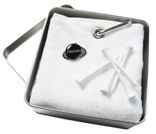 Golfgeschenk: CaddyTuch + Cap-Clip + Golfball Marker mit VORNAMEN oder INITIALEN