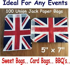 100 Union Jack Paper Bags, Gift Bags, Sweet Bags, BBQ, Great British Events,