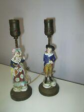 New listing Antique Edme Samson Chelsea Gold Anchor Porcelain Boy & Girl Figurine Lamps