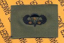 US Army Airborne Parachutist wing 3 Combat Jumps OD Green & Black cloth patch