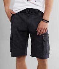 Affliction Black Premium - GUNSMOKE- Men's Cargo Shorts - Charcoal Camo Print