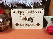 WOODEN HAPPY CHRISTMAS DOG CUSTOM SIGN 15cm  wood shape decoration xmas craft