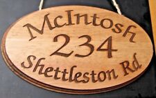 PERSONALISED WOODEN HOUSE GATE SIGN CUSTOM ENGRAVED NAME / NUMBER PLAQUE STABLES