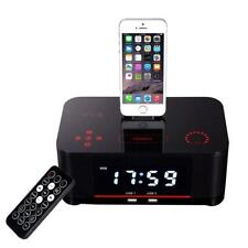 QQA Despertador doble Radio FM con Lightning Dock Carga USB Bluetooth Altavoz