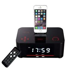 QQA Alarm clock double Radio FM with Lightning Dock Charge USB Bluetooth Speaker