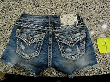 Miss Me blue denim jean shorts size 25 inch embellished rhinestones distressed