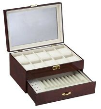 Diplomat Burlwood Ten Watch Box Case with Cream Leatherette Interior