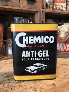 ANCIEN BIDON HUILE ANTIGEL CHEMICO SHELL CASTROL YACCO MOBILOIL ESSO