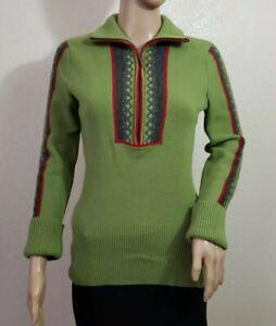 EDDIE BAUER 100% Merino Wool Nordic Sweater 1/4 Zip Mock Neck Women's Sz Medium