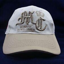 Monaco Monte Carlo Embroidered Logo Embellished Gold Tan White Strapback Hat Cap