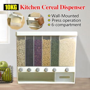 10KG Cereal Dispenser Storage Dry Food Container Rice Pantry Grain Case 6 in 1