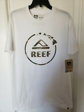 New REEF Mens Camo Hawaii Logo T-Shirt Tee - Medium - White - 100% Cotton - Surf