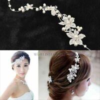 Crystal Rhinestone Faux Pearl Flower Party Bridal Headband Hair Band Tiara Clear