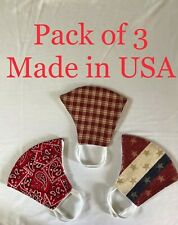 ( Pack of 3) Face masks with Filter pocket .Reusable, Washable. Made in USA