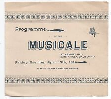 "1894 Musical Program for "" Musicale "" at Armory Hall Santa Rosa CA"