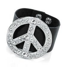 Gorgeous  silver tone - diamante & black faux leather peace sign cuff bracelet