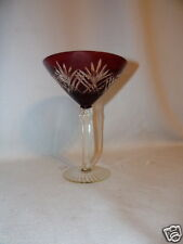 RUBY RED CUT TO CLEAR BOHEMAIN MARTINI CUT CRYSTAL GLASS
