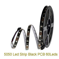 SMD 5050 RGB Waterproof 300 LED Strip Light tape string lamp DC 12V black PCB