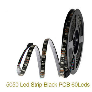 SMD 5050 RGB RGBW RGBWW LED Strip Light DC 12V black PCB tape string lamp 1-5M