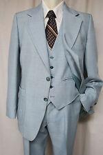 Vintage 70s JOHNNY CARSON 3 piece Suit 42R Lt. Blue