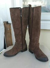 NEW CLARKS PLAZA MARKET BROWN SUEDE LEATHER LONG BOOTS - UK size 4.5D