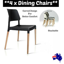 4x Black Dining Chair Stackable Retro Modern Seat Beech Wood Leg Cafe Office NEW