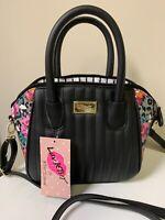 LUV BETSEY JOHNSON Black Floral Satchel Crossbody LBQUIINN NWT MSRP $58.00