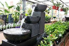 Garden Patio Water Feature Frangipani Rectangle Avoca Cascade Cup Fountain Black