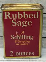 Vintage Schilling 2 oz Rubbed Sage Tin Spice Can