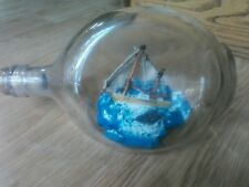 Vintage 3 sided jug Nautical 2 Mast Sailing Ship In A Glass Bottle Ocean Waves