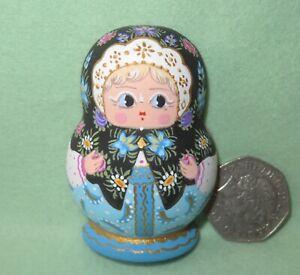 Matryoshka Fridge Magnet Black Blue Russian doll HAND PAINTED MATT MITINA signed