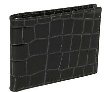 Budd Leather Crocodile Bidente Slim Wallet - Black