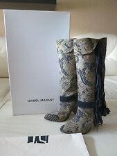 NEW Isabel Marant Sailor Python Print Canvas Tassel Fringe Boots 39 8.5 8