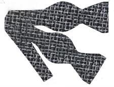 Black & Silver Bow tie / Trendy Haystack with Metallic Silver / Self-tie Bow tie