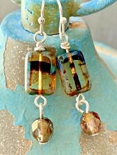 Silver and Tiger Eye Picasso and Crystal Earrings. Bohemian