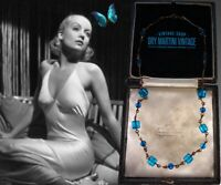 VINTAGE ART DECO CZECH AQUA BLUE CUBE BEADS NECKLACE ROLLED GOLD BRIDAL GIFT