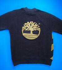 TIMBERLAND Knit Striped Dark Blue Wool Jumper Large Logo XL