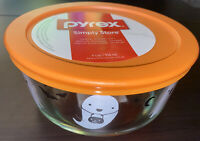NEW PYREX 4 Cup Ghosts and Bats Glass Storage Bowl Orange Lid Halloween 2020